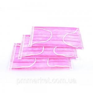 Маска медицинская 1 шт (розовая)
