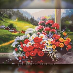 Алмазная вышивка Букет ярких цветов на терассе 30x40 The Wortex Diamonds (TWD10059)