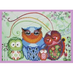 Набор для вышивки бисером Веселые совята- 8