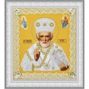 Набор для вышивки бисером Икона Святителя Чудотворца (золото) ажур