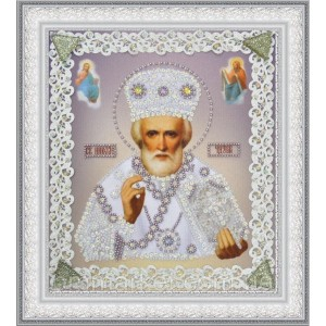 Набор для вышивки бисером Икона Святителя Чудотворца (серебро) ажур