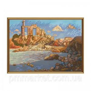 """Набір для вишивки нитками на канві з фоновим зображенням """"Стародавнє місто"""""""