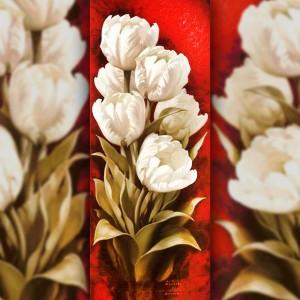Алмазная вышивка Букет белых тюльпанов 100х40 The Wortex Diamonds (TWD11007)