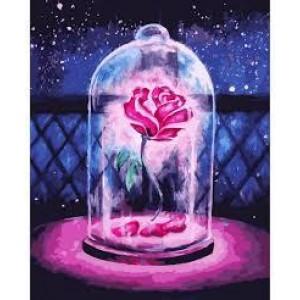 Алмазная мозаика Роза в колбе. 30*40см Полная зашивка. Набор алмазной вышивки