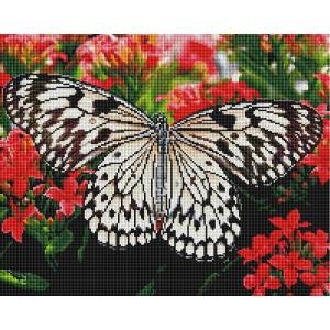 Алмазная мозаика 40х50 - Бабочка на цветах