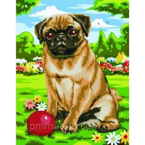 Алмазные картины-раскраски - Игра с собакой