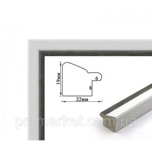 Багетная рамка (белая с серебром, 2 см) 40х50
