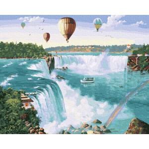 Воздушные шары над водопадом