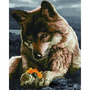 Волк с цветком