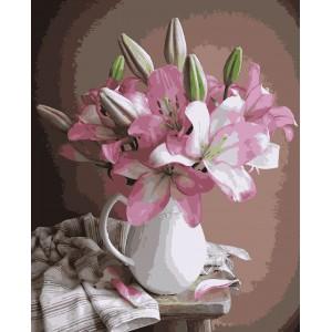 """Картины по номерам """"Лилии в вазе"""" 40*50см"""