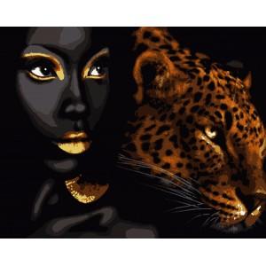 """Картины по номерам """"Африканская жемчужина"""" с золотой краской 40*50 см"""