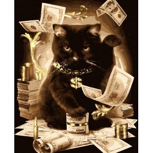 """Картины по номерам """"Денежный кот"""" (с золотой краской) 40*50 см"""